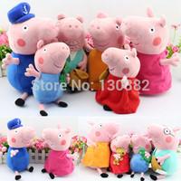 Peppa Pig Toys Set Whole Family Plush Toy Doll Grandpa Grandma Daddy Mummy George Pepa Pig Brinquedos Baby Toy,19&30cm 6pcs/set