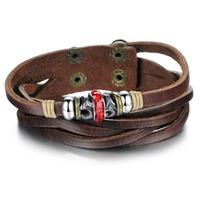 OPK JEWELRY Men's Fashion Handmade Genuine Leather Bracelet Retro Brown Braided Rope Wristband Bracelet hot bijouterie, 824