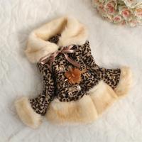 new fashion thick plush imitation leopard fur coat children's clothing jacket for girls free shipping