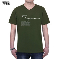 2014 New Large Sizes Men Clothing Cotton T-shirt  V-neck Summer candy colors XL-7XL Free shipping