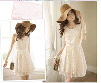 2014 New Promotions Hot Trendy Cozy Fashion Women Clothes Retro Code Slim Lace Vest Dress Was Thin Beaded