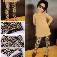 Free Shipping 2013 New Feshion Corduroy Autumn Baby Girls Leopard Leggings 3/13Years Girls's Pants Free Shipping