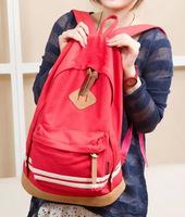Korean pig nose stripe canvas shoulder bag schoolbag backpack tide hit color handbag lovers