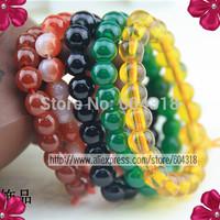 free shipping 10 pcs/pack cheap 8mm glass bead bracelet, buddha bracelet faux agate bracelet special offer