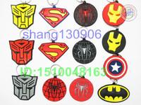 Free Shipping superman/spider-man/ Iron Man/Batman/Captain America children PVC Key Chains for kids wholesale Mix Color
