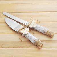 customized burlap wedding cake serving set, personalized rustic wedding cake knife,burlap and lace