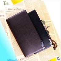 New 2014 Summer Men's Wallets Men Long Wallet Fashion Brand Genuine Leather Wallet Man Slim Money Clip Wallet Free Shipping
