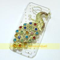1 Pcs Handmade Bling Peacock Clear Hard back case For LG L90 D405  Dual D410