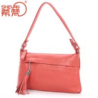 2014 small cowhide bag genuine leather shoulder bag small handbag female tassel messenger bag