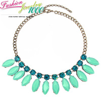 2014 New A Row of Leaf Flower Crystal Bib Choker Collar Necklace Fashion Statement Pendant Jewelry For Women Free Shipping