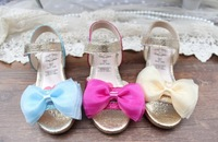 2014 summer kid sandals for girls children chiffon bow glitter flat ankle strap princess shoes free shipping