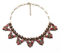 women necklace 2014 new red rhinestone 5 leaf fashion eco-friendly decent 883