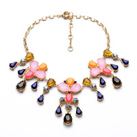 women crystal gold plated necklace 2014 new candy color eco-friendly 857