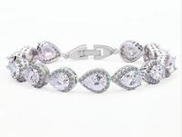 Zircon Bracelet Wedding Bracelets & Bangles High Quality Real Platinum Plated AAA Zircon Bride Bracelet Bangle For Women 18CM
