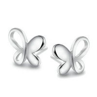 Free Shipping 100% Pure 925 Sterling Silver Butterfly Earrings Wholesale Fashion Jewelry Can Drop Ship,ED003