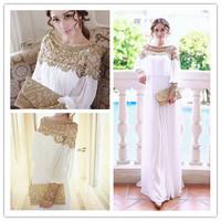 2014 new fashion luxury  heavy beaded chiffon fancy dubai women kaftan abaya evening dress elegant long brand prom dress