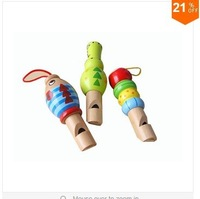 HOT!Free Shipping!Wholesale Wooden Cartoon Animals Whistle Children Toy Musical Instrument Kids Hobbies Fashion Pendant 6pcs/lot