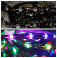 5M BLACK PCB WS2811 WS2812B LED Pixel Strip 150 5050 RGB & 30 IC Per M DC5V