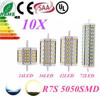 10pcs Free Shipping R7S LED 118mm 15W 10W 78mm 12W 25W 189mm J118 J78 J189 LED R7S dimmable 5050 corn bulb Halogen Flood