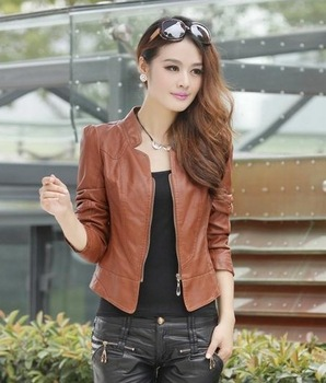 2014 Женщины's Leather & Замша Модный slim Simple Leather jacket coat  ...
