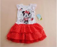 wholesale New arrival 2014 fashion kids girl cartoon Minnie print lace dress chiffon lace girls cute dress,children summer dress