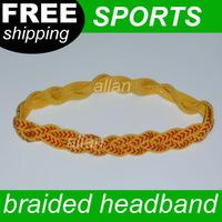China Manufature Fashion Style Braided Stretch Baseball Softball Elastic Nylon Ribbon Grippy Silicone Headband