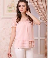 Free shipping!New Korean lace chiffon short sleeve Blouse Loose t shirts