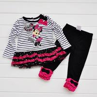 2013 new Retail Children's Suit girls clothes 100% cotton long sleeve dress+pants 2 pcs Minnie mouse Clothing set summer