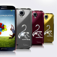 Free shipping Swarovski Diamond Crystal S-shaped Hard Case Cover For Samsung Galaxy S4 i9500