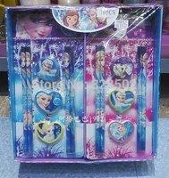 Free shipping 16sets frozen stationery frozen pencil eraser sharpener kawaii papelaria set For Kids gift children stationery set