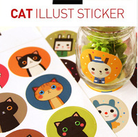 90 pcs/lot 18 Designs DIY Kawaii Cartoon Cat Illustration Stickers for Scrapbooking Decoration Paper Card Free shipping
