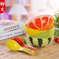 Ceramics watermelon fruit bowl spoon child dinnerware set