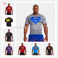 2014 UA summer ventilate quick-drying clothing men outdoor sports  3d tight T-shirt high elastic unlined upper garment