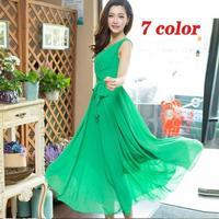 Beach Dress 2014 new casual plus size sleeveless V neck chiffon long maxi dress slim vest women autumn dress vestidos