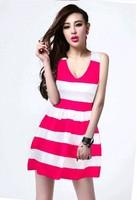 2014 New Hot Fashion women cozy clothing casual girl tank dress summer women dress hit color striped cotton sexy V neck  WA