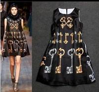 2014 New Hot Fashion women cozy clothing casual girl dress summer women dress  cool print keys tank silk A line WA