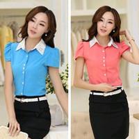 2014 New Hot Fashion women cozy clothing blouse girl shirt summer women shirt solid silk beading fashion