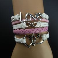 Antique silver love romantic dcrv wax rope knitted bracelet b2-038, DIY weave bracelets, 5pcs/lots