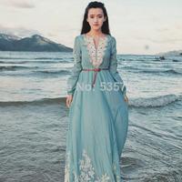 DA 2014 New Hot Sale Spring & Summer Ladies Western Fashion Sweet Style V-neck Retro Embroidery Silk Cotton Bohemian Dress 7021