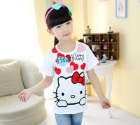 Free Shipping Hot Selling new 2014 Fashion One Pcs Baby Girls Hello Kitty Tshirt Mickey Cotton Short-Sleeved Casual T-shirt