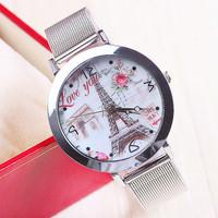 New Fashion Watch Silver Stainless Steel Watch Eiffel Tower WristWatch Flower Women Dress Watches 1piece/lot BW-SB-645