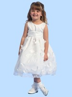 Ball Gown Scoop Tea-Length Appliques Sash Flower Girl Dress