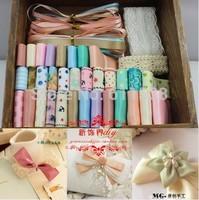 hot sale free shipping 46 meters ribbon mix ribbon set craft handmade diy ribbon for hair accessory material