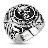 Wholesale Lot Men's Boy's Stainless Steel Skull Shield Wide Cast Ring