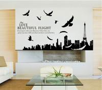 1set 180*70cm I Love Paris Living Room Vinyl Wall Art Decals Eiffel Tower Decoration Stickers For Kids Room Wallpapers 3D Decor