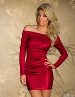 5 Color Plus Size M L XL Sexy  Beauty Long Sleeve Gilt Bodycon Club Dresses Off Shoulder Mini Bandage Dress Purple red blue
