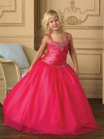 Ball Gown Satin Sweetheart Lace-up Floor-length Embroidery Beading Flower Girl Dress