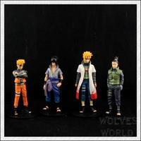 Japanese hot anime Naruto Uchiha Sasuke Uzumaki Naruto Cosplay 4pcs set action figure toys gift