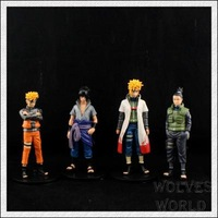 Japanese hot anime Naruto Uchiha Sasuke Uzumaki Naruto Cosplay 4pcs set action figure toys gift