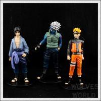 japanese anime NARUTO Uzumaki Naruto Hatake Kakashi Uchiha Sasuke 3pcs set action figure classic toys gift